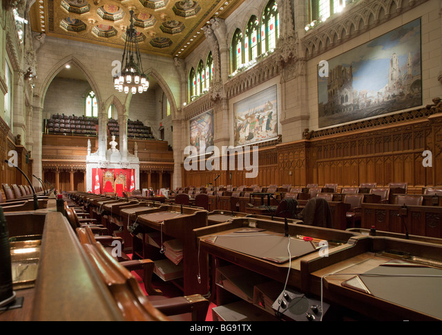 View from the Government back benches of the Senate Chamber.. Senate Chamber in the Parliament of Canada. - Stock Image