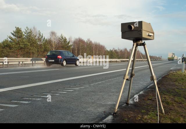 Speed limit enforcement on German motorway - Stock Image