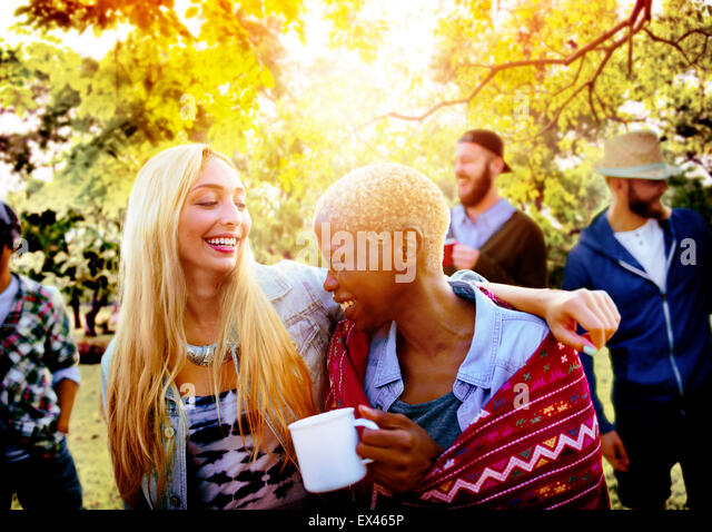 Friends Outdoors Camping Holiday Cheerful Concept - Stock-Bilder