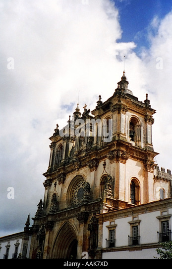 Church Bell Towers Alcobaça Portugal - Stock Image