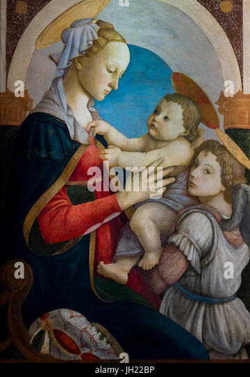 Madonna and Child with an Angel, by Sandro Botticelli, circa 1465, Ospedale degli Innocenti, Florence, Tuscany, - Stock Image