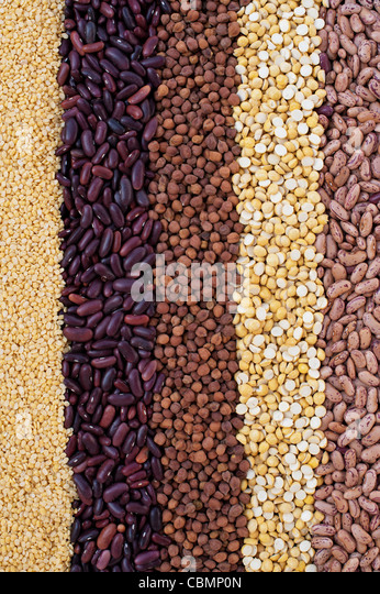 Pulses, seeds, bean and lentil pattern - Stock Image