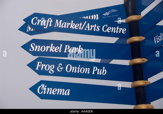 Bermuda Dockyard direction signs arrows - Stock Image