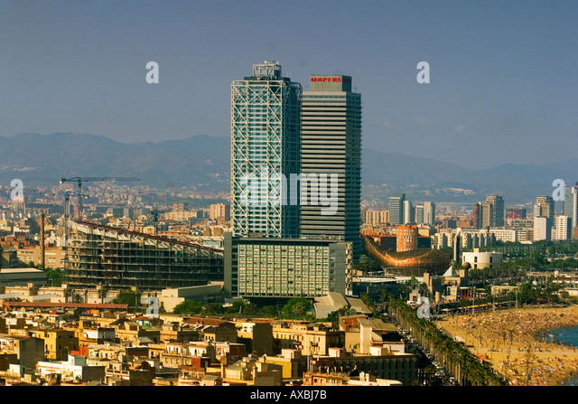 ESP Spain Barcelona Barceloneta Barcelona Hotel des Arts Frank Gehry Teleshot - Stock Image