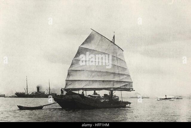 A Chinese Junk, circa 1890 - Stock Image