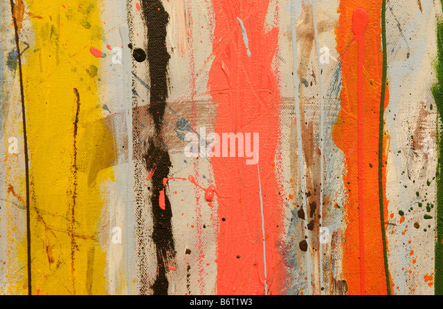 Abstract expressionist painting concentrating on color and lines - Stock Image