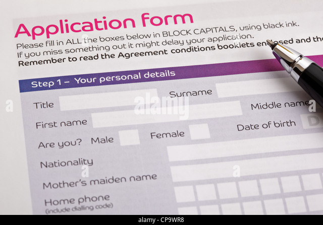 Application form - Stock Image