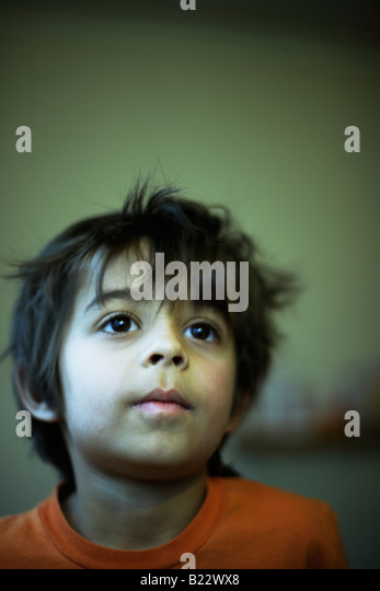 Portrait six year old boy mixed race indian english - Stock-Bilder