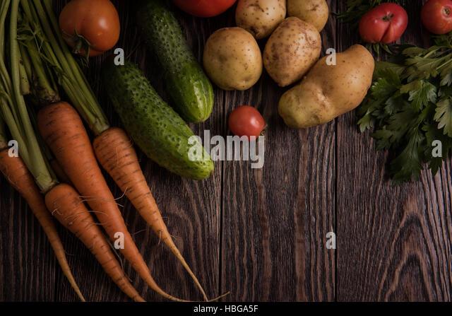 freshly grown raw vegetables - Stock Image