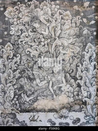 Arjuna sends Supraba to find Niwatakawaca's weakness, I Wayan Turun - Stock Image
