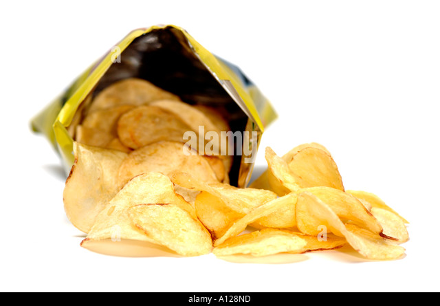 Open bag of crisps - Stock Image