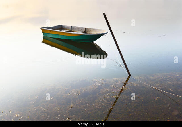 Boat on lake - Stock Image