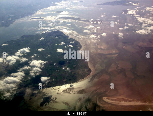 Denmark coast seen from air with clouds - Stock-Bilder