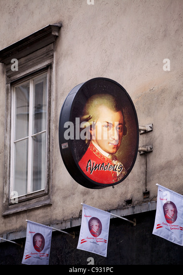 Vienna, Austria; An advert with the picture of famed Austrian composer Wolfgang Amadeus Mozart - Stock Image