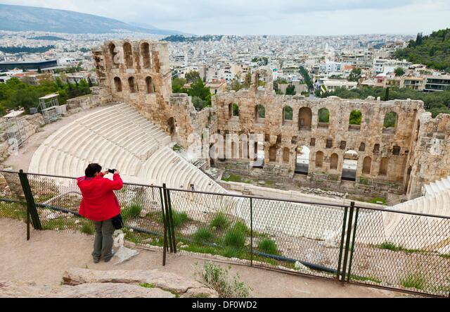 Odeón or Theatre of Herodes Atticus, Acropolis, Athens, Greece. - Stock Image