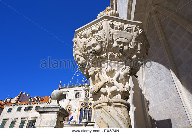 Croatia, Dubrovnik, Drinking fountain in Sponza palace. - Stock Image