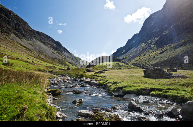 Shot of a Stream Running through Honister Pass in the Lake District, UK - Stock Image