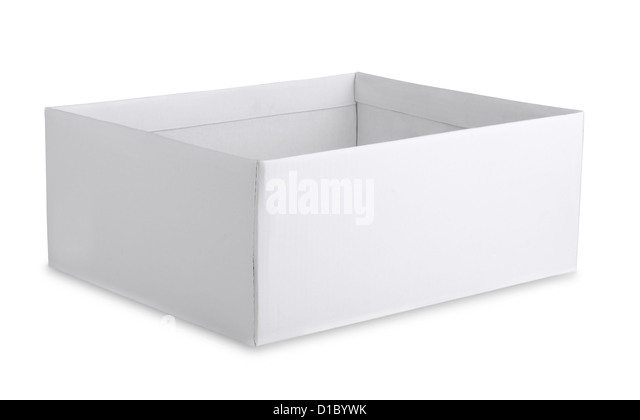 Open cardboard white box isolated on white - Stock Image