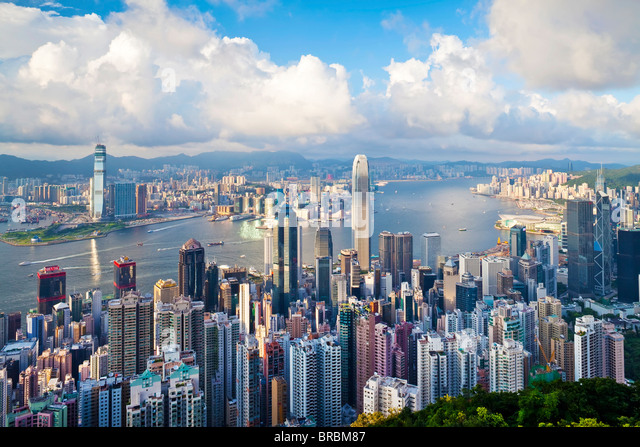 City skyline and Victoria Harbour viewed from Victoria Peak, Hong Kong, China - Stock-Bilder