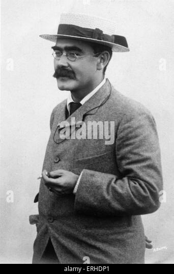 Rudyard Kipling - portrait with cigarette.  English poet and novelist. 30 December 1865 (in Mumbai ) - January 1936. - Stock-Bilder