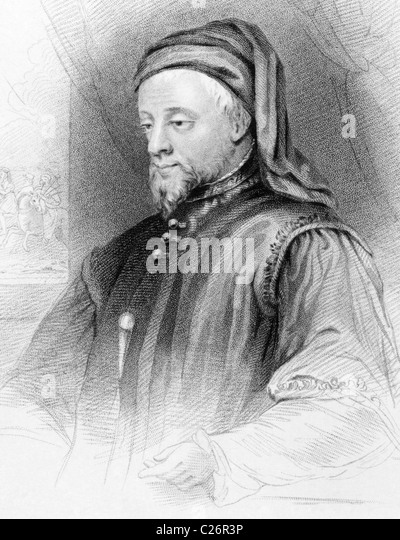 Geoffrey Chaucer (1343-1400) on engraving from 1838. English author, poet, philosopher, bureaucrat, courtier and - Stock Image