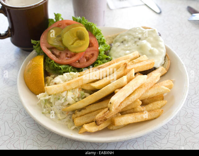 Cheeseburger Deluxe at Diner - Stock Image