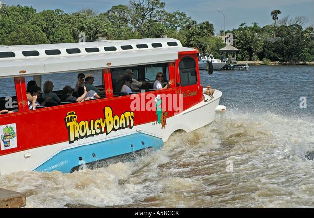Daytona Beach Florida amphibeous trolly tour boat Halifax River - Stock Image