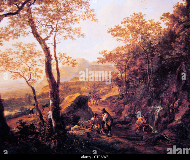 A Rocky Italian Landscape with Herdsmen and Muleteers - Jan Both - Stock Image