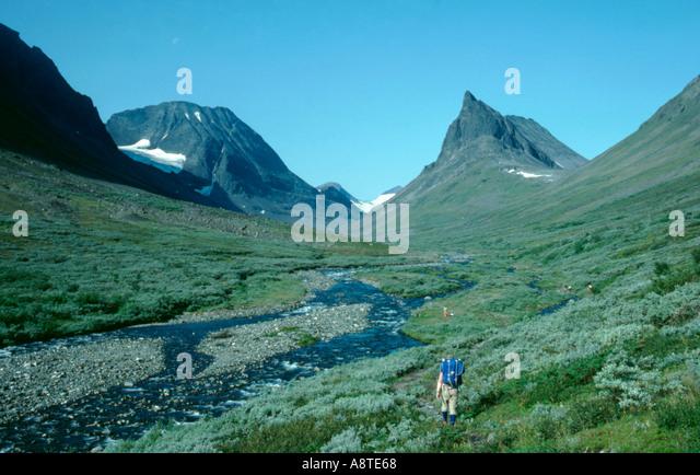 Nallo from Unna Raitavagge valley, Kebnekaise, Lappland, Norrbottens Län, arctic Sweden. - Stock Image