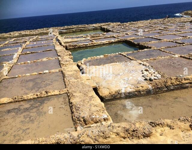 Salt Pans in Gozo, Malta - Stock Image