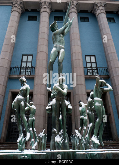 Orpheus Fountain and Konserthuset at Hotorget in Stockholm Sweden - Stock Image