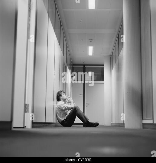 black and white business frustration stressed businessman License free except ads and outdoor billboards - Stock Image