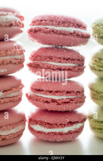 Pastel-colored French macarons - Stock-Bilder