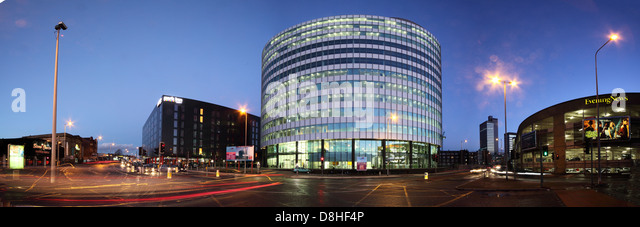 The Peninsula Office Block Cheetham Hill road, A665, Manchester, England, UK M4 4AA at night - Stock Image