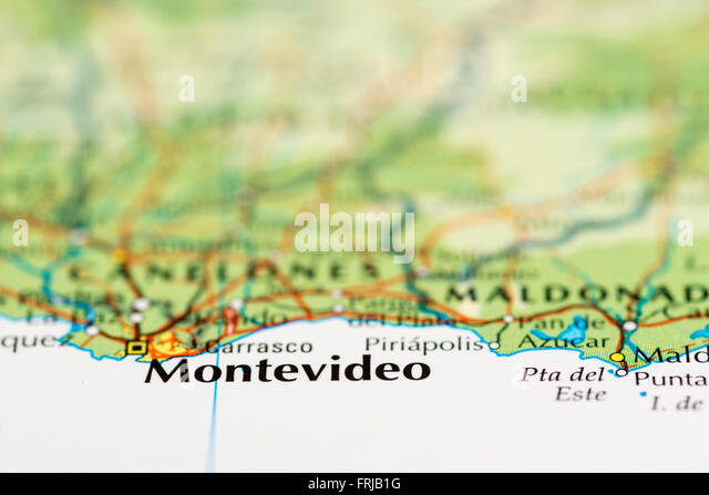 Close up of a map of Montevideo in Uruguay - Stock Image