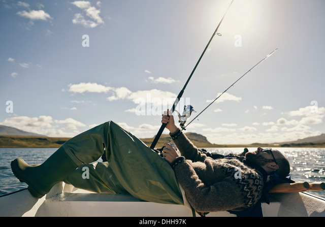 Men on fishing trip - Stock Image