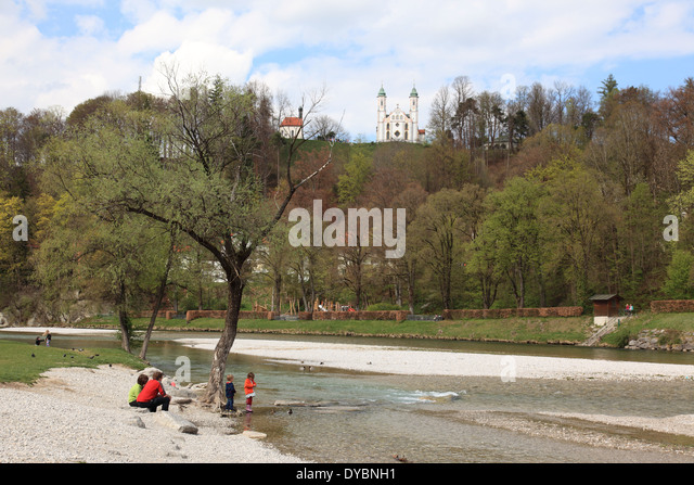 taking a rest at the dry riverbed of the Isar, Bad Toelz, Upper Bavaria, Germany. Photo by Willy Matheisl - Stock Image