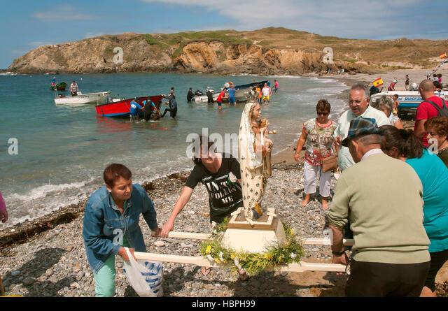 Seafaring procession of the Virxe do Porto, Meiras - Valdoviño, La Coruña province, Region of Galicia, - Stock Image