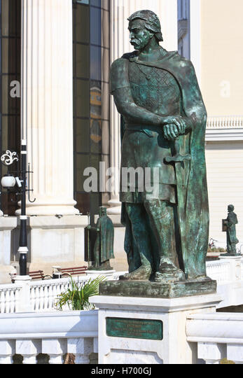 Statue of the 11th-century Bulgarian aristocrat and rebellion leader Georgi Voiteh in Skopje, Macedonia - Stock Image