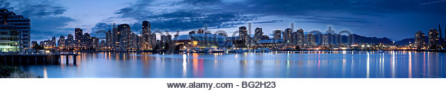 Vancouver Skyline Panoramic and False Creek at Night, British Columbia, Canada - Stock Image