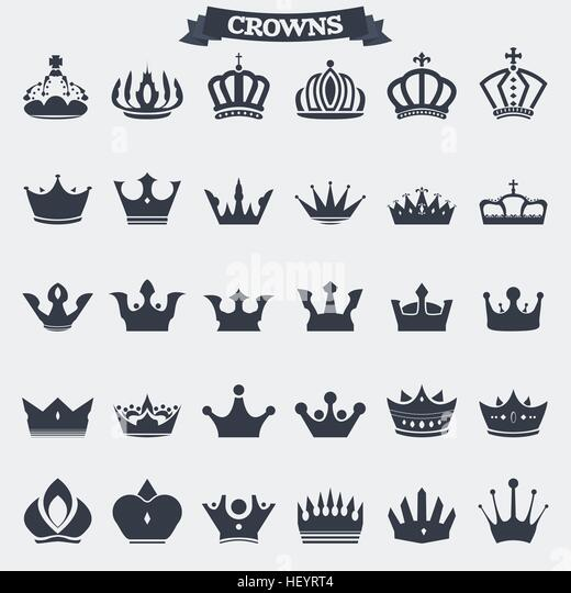 Set of retro vintage king crown icons and emblems, badges and signs for logotype or other graphic or printing. - Stock Image