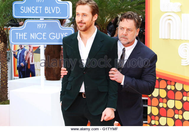 London,Great Britain. May 19th, 2016. UNITED KINGDOM, London: Ryan Gosling and Russell Crowe attend the 'The - Stock Image