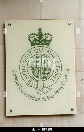 Judicial Committee of the Privy Council plaque at The Supreme Court, Westminster, London, England, UK - Stock Image