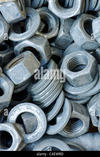 Nuts bolts washers stock photos