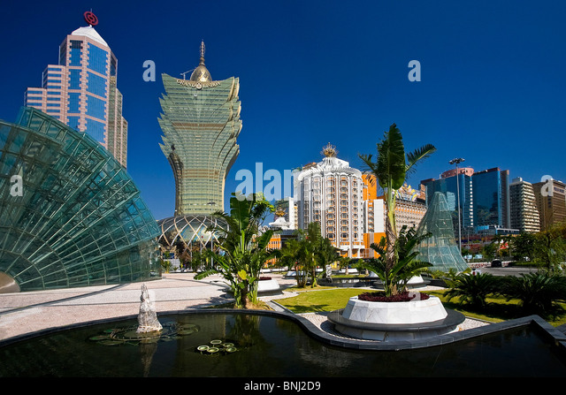 China Macao Macau city Jardim of the Artes Grand Lisboa casino casino ball sphere reflecting mirror buildings constructions - Stock Image