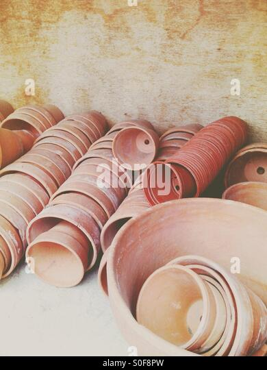 Plant pots ready for use - Stock Image