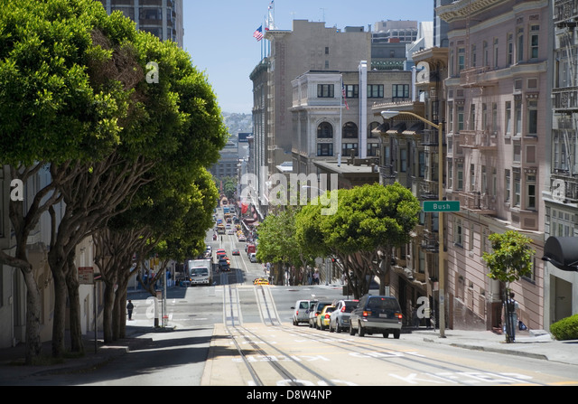 View down Powell Street, San Francisco, California, USA - Stock Image