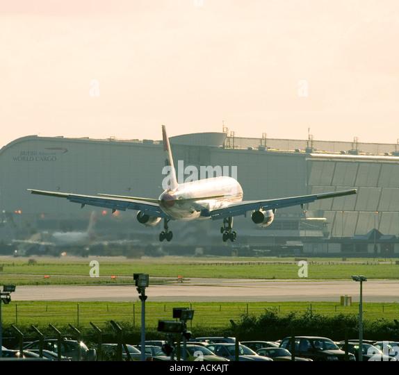 Airliner landing at London Heathrow Airport England UK - Stock Image
