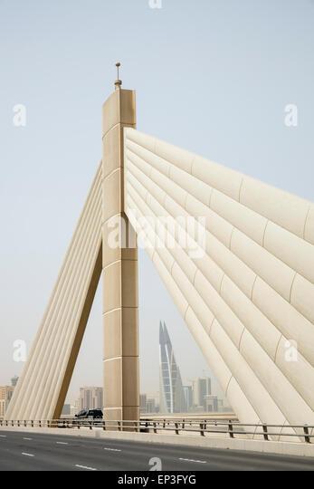 Sheikh Isa bin Salman Causeway Bridge, linking  Manama and Muharraq Island in Kingdom of Bahrain - Stock Image