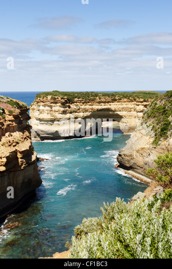Mutton Bird Island at Loch Ard Gorge on the Great Ocean Road, Port Campbell National Park, Australia - Stock Image